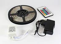 Светодиодная лента LED 3528RGB, гибкая многоцветная лента 5 метров, контроллер, блок питания, ик-пульт