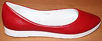 Балетки женские красные кожаные, кожаные балетки женские от производителя модель ВБ1408-2