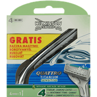 Катріджі для гоління Wilkinson Sword Quattro Titanium Sensetive+ручка для станка (4шт.)