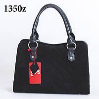 Классная модельная замшевая черная женская сумка art. 1350z