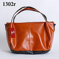 Объемная вместительная женская рыжая сумка-шоппер art.1302r