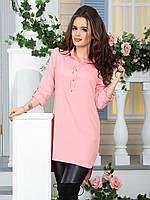 Туника с рубашечным воротником розовая
