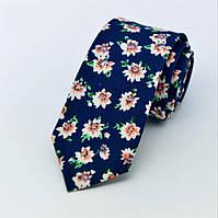 Галстук узкий синий хлопковый в цветочек 09076 Bow Tie House™