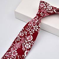 Галстук мужской узкий красный хлопковый в белый цветок Bow Tie House™