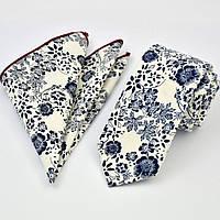 Галстук мужской узкий бежевый хлопковый с синим + платок 09090 Bow Tie House™