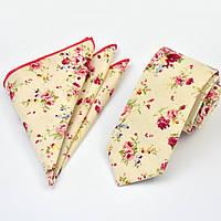 Галстук мужской узкий бежевый хлопковый с розовым + платок 09091 Bow Tie House™