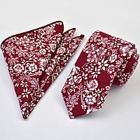 Галстук мужской узкий красный хлопковый в белый цветок  + платок 09092 Bow Tie House™