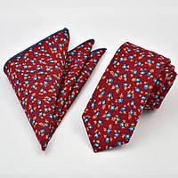 Галстук узкий красный хлопковый в синий цветок  + платок 09093