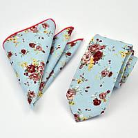 Галстук мужской узкий голубой хлопковый в розовый цветок  + платок 09094 Bow Tie House™