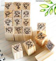Набор из 12 деревянных штампов Emotions Эмоции, фото 1