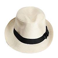 Шляпа Fedora Unisex - бежевая с черной лентой - классика