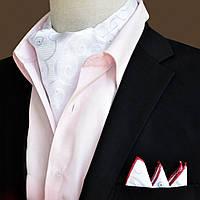 Bow Tie House™ Шейный платок Аскот белый с узором и платком-паше 09153
