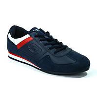 Модные кроссовки мужские темно-синие кожзам Sayota