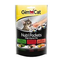 GimCat Nutri Pockets Malt-Vitamin Mix лакомство подушечки для кошек микс, 150г