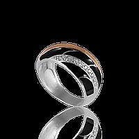 Серебряное кольцо ВЕНЕРА 925 пробы с накладками золота 375 пробы.Серебряное кольцо с золотой пластиной