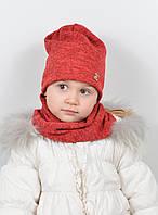 Детская шапочка с шарфиком на девочку, комплект детский с подкладкой.