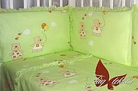 TAG Детский комплект постельного белья в кроватку Мишки-малышки зелен.