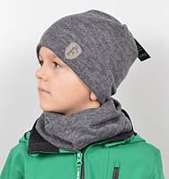 Детская шапочка с шарфиком на мальчика, комплект детский с подкладкой.