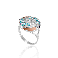 Красивое Серебряное кольцо ирена 925 пробы с накладками золота 375 пробы.Серебряное кольцо с золотой пластиной