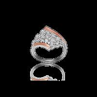 Серебряное кольцо лагуна 925 пробы с накладками золота 375 пробы.Серебряное кольцо с золотой пластиной, фото 1