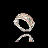 Серебряное кольцо МЕРИЛИН 925 пробы с накладками золота 375 пробы.Серебряное кольцо с золотой пластиной