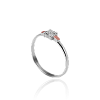 НЕЖНОЕ Серебряное кольцо МИНИ 925 пробы с накладками золота 375 пробы.Серебряное кольцо с золотой пластиной