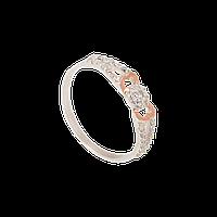 Серебряное кольцо ОЛИМПИЯ 925 пробы с накладками золота 375 пробы.Серебряное кольцо с золотой пластиной