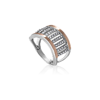 Серебряное кольцо РУНО 925 пробы с накладками золота 375 пробы.Серебряное кольцо с золотой пластиной