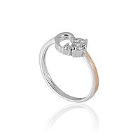 Серебряное кольцо СЕРДЕЧКО 925 пробы с накладками золота 375 пробы.Серебряное кольцо с золотой пластиной