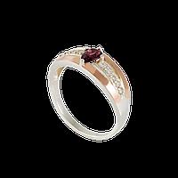 Серебряное кольцо ФАИНА 925 пробы с накладками золота 375 пробы.Серебряное кольцо с золотой пластиной