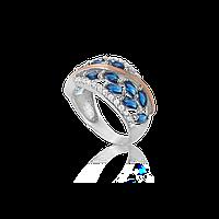 Серебряное кольцо ЭДИТА 925 пробы с накладками золота 375 пробы.Серебряное кольцо с золотой пластиной, фото 1