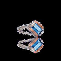 Серебряное кольцо ЛИАНА 925 пробы с накладками золота 375 пробы.Серебряное кольцо с золотой пластиной