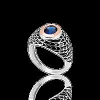 Серебряное кольцо ЛИВИЯ 925 пробы с накладками золота 375 пробы.Серебряное кольцо с золотой пластиной
