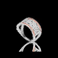 НЕЖНОЕ Серебряное кольцо ЛЮБОВЬ 925 пробы с накладками золота 375 пробы.Серебряное кольцо с золотой пластиной