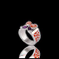 Серебряное кольцо ФИАЛКА 925 пробы с накладками золота 375 пробы.Серебряное кольцо с золотой пластиной