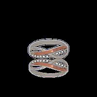 Серебряное кольцо ФИОНА 925 пробы с накладками золота 375 пробы.Серебряное кольцо с золотой пластиной