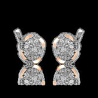 Серебряные серьги ГЛАЗУРЬ 925 пробы со вставками золота 375 пробы