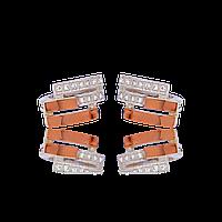 Серебряные серьги ЗАГАДКА 925 пробы со вставками золота 375 пробы