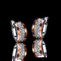 Серебряные серьги КЛАРИНА 925 пробы со вставками золота 375 пробы