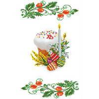 Ткань с рисунком для вышивки бисером Рушник Пасхальный
