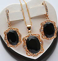 Красивый комплект Xuping покрытие золотом 18к с черными овальными цирконами.