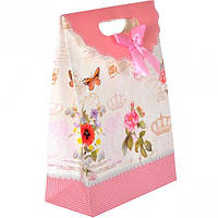 Сумочка подарочная на липучке, 27×19×9 см / Цветы