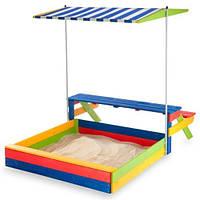 Детская цветная деревянная песочница с тентом и скамейками ТМ SportBaby Песочница - 20