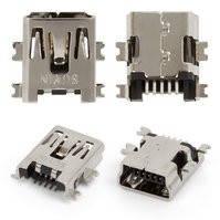 Коннектор зарядки для планшетов; мобильных телефонов; автонавигаторов; цифровых фотоаппаратов; цифровых видеокамер, 5 pin, mini-USB тип-B, тип 2