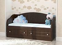 """Красивый и надежный диван """"Мишка 1"""" (Размер: 90х190 см) ТМ Вальтер-С Орех темный D-4.09. M4"""