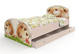 "Дитяче ліжко з фотодруком ""Ведмедик з букетом"" з ящиком (90х190 см) ТМ Вальтер-С Венге K3Y-1.09.37"