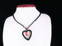 Намисто з гематиту з сердечком (рожева вставка), фото 1
