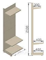 Перфорированные стеллажи. Стеллаж под крючки 600х480х2100 (приставная секция)