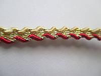 Тасьма сутаж декоративна з люрексом 5 мм бордово-золотиста, фото 1
