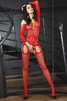 Боди комбинезон с рукавом красный